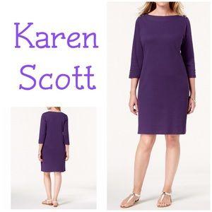 Karen Scott Sport Casual Purple Boat Neck Dress PM